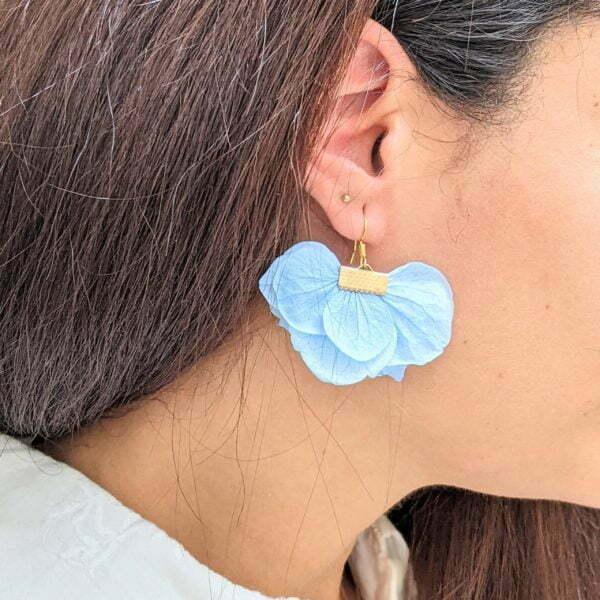 Boucles d'oreilles éventail en fleurs stabilisées, bijou bohème, Neus 9