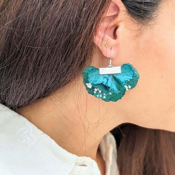 Boucles d'oreilles éventail en fleurs stabilisées, bijou bohème, Neus 3