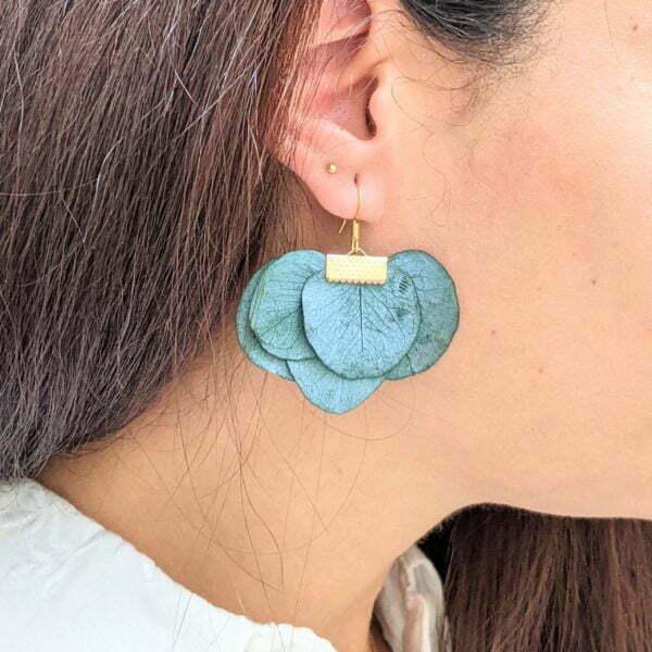 Boucles d'oreilles éventail en fleurs stabilisées, bijou bohème, Neus 7