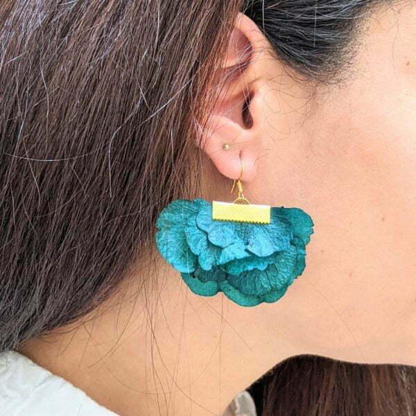 Boucles d'oreilles éventail en fleurs stabilisées, bijou bohème, Neus 6