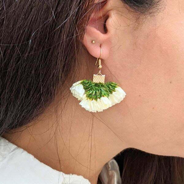 Boucles d'oreilles éventail en fleurs stabilisées, bijou bohème, Neus 5