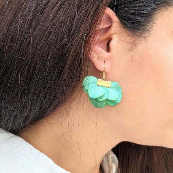 Boucles d'oreilles éventail en fleurs stabilisées, bijou bohème, Neus 8