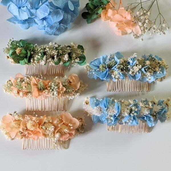 Peigne à cheveux fleuri pour coiffure de mariage en fleurs séchées & fleurs stabilisées, Castille