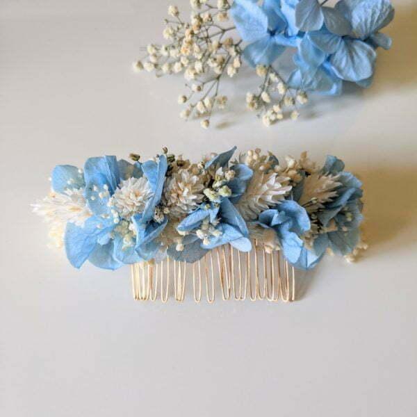 Peigne à cheveux fleuri pour coiffure de mariage en fleurs séchées & fleurs stabilisées, Castille 2