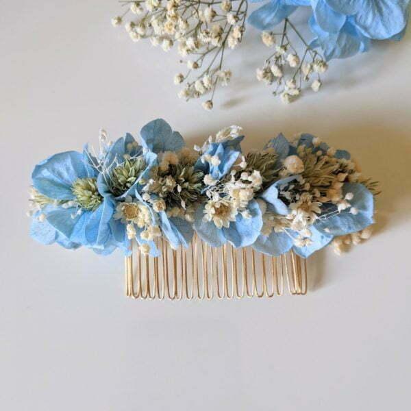 Peigne à cheveux fleuri pour coiffure de mariage en fleurs séchées & fleurs stabilisées, Castille 3