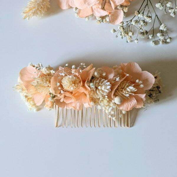 Peigne à cheveux fleuri pour coiffure de mariage en fleurs séchées & fleurs stabilisées, Castille 5