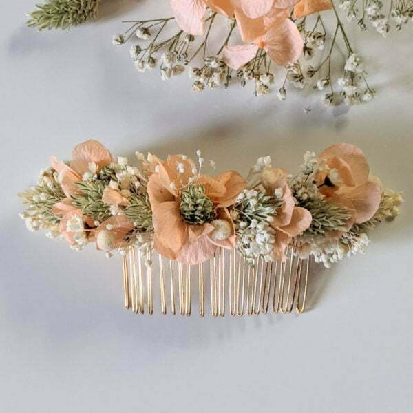 Peigne à cheveux fleuri pour coiffure de mariage en fleurs séchées & fleurs stabilisées, Castille 6