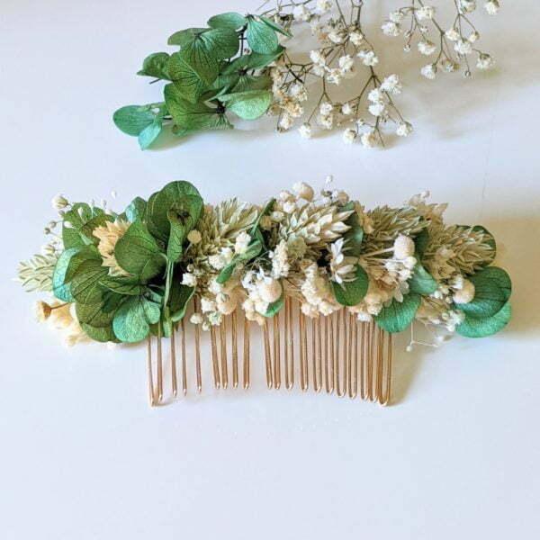 Peigne à cheveux fleuri pour coiffure de mariage en fleurs séchées & fleurs stabilisées, Castille 4