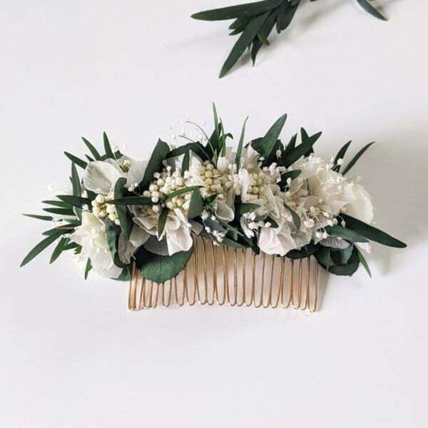 Peigne à cheveux fleuri pour coiffure de mariage en fleurs stabilisées, Frida 2
