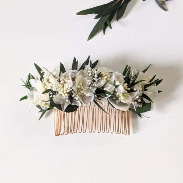 Peigne à cheveux fleuri pour coiffure de mariage en fleurs stabilisées, Frida