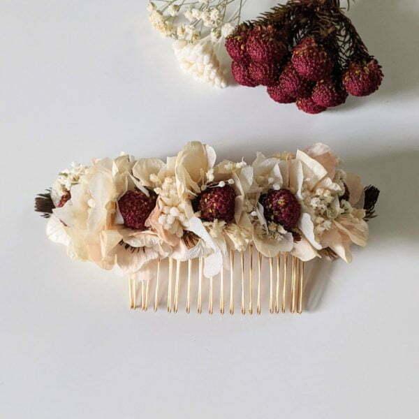 Peigne à cheveux fleuri pour coiffure de mariage en fleurs séchées & fleurs stabilisées, Jeannette 2