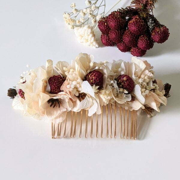Peigne à cheveux fleuri pour coiffure de mariage en fleurs séchées & fleurs stabilisées, Jeannette