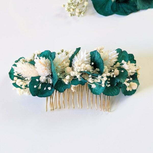 Peigne à cheveux fleuri pour coiffure de mariage en fleurs séchées & fleurs stabilisées, Malèna 2