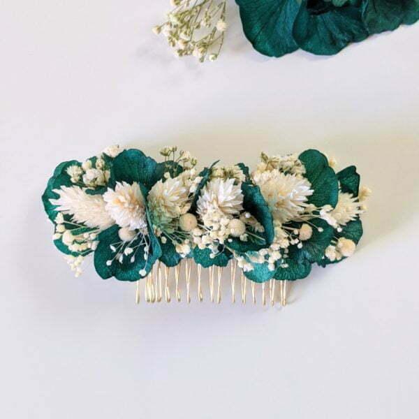 Peigne à cheveux fleuri pour coiffure de mariage en fleurs séchées & fleurs stabilisées, Malèna