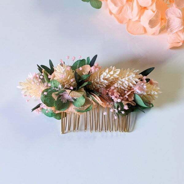 Peigne à cheveux fleuri pour coiffure de mariage en fleurs séchées & fleurs stabilisées, Vania 2