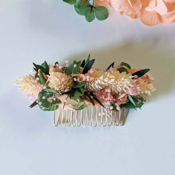 Peigne à cheveux fleuri pour coiffure de mariage en fleurs séchées & fleurs stabilisées, Vania