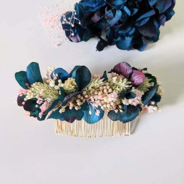 Peigne à cheveux fleuri pour coiffure de mariage en fleurs séchées & fleurs stabilisées, Mona 4