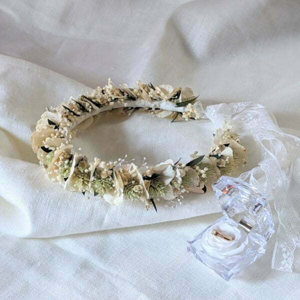 Couronne de cheveux pour coiffure de mariage en fleurs séchées & fleurs stabilisées, Inès