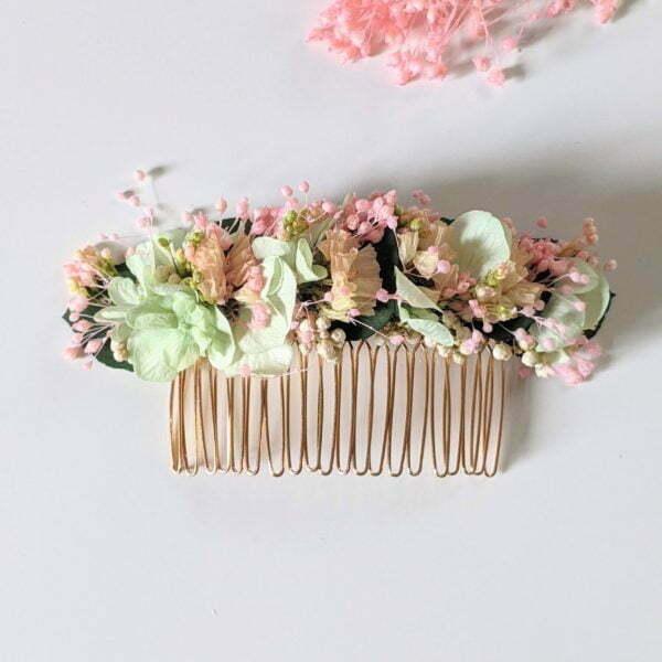 Peigne à cheveux fleuri pour coiffure de mariage en fleurs séchées & fleurs stabilisées, Catalina
