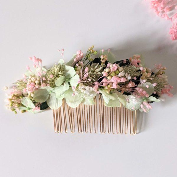 Peigne à cheveux fleuri pour coiffure de mariage en fleurs séchées & fleurs stabilisées, Catalina 2