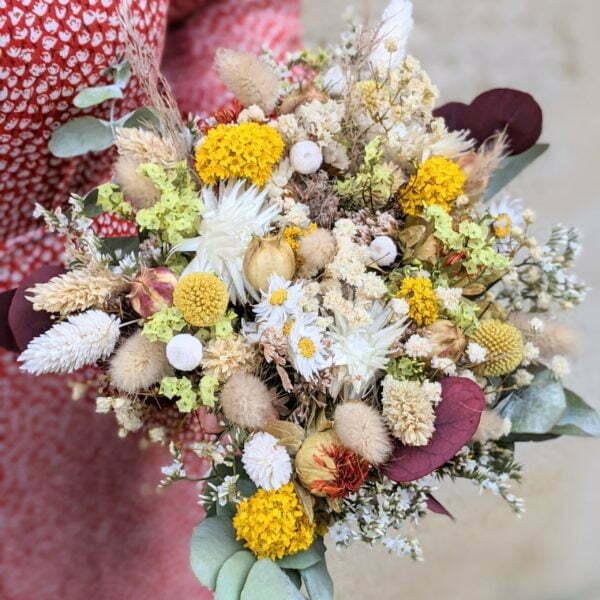Bouquet de mariée en fleurs séchées & fleurs stabilisées dans les tons jaunes, rouges, beiges, Elvira 2