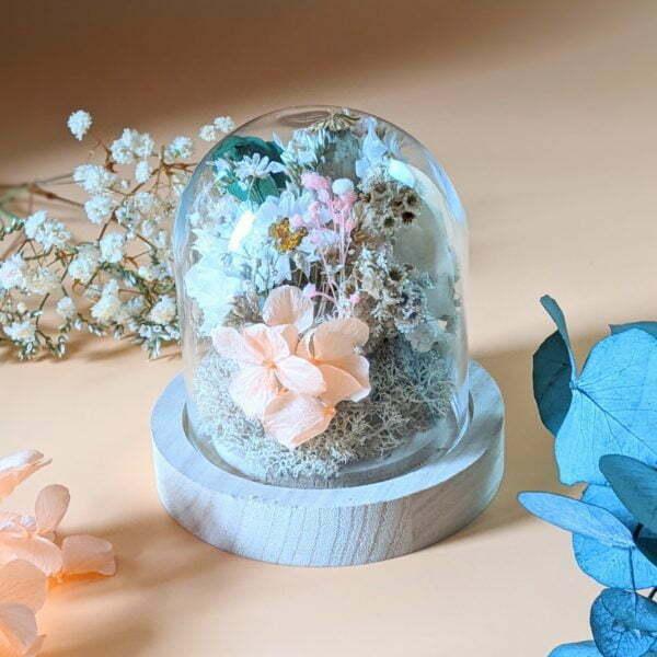 Cloche en verre avec fleurs séchées & fleurs éternelles pour décoration d'intérieur bohème, Lupita 4