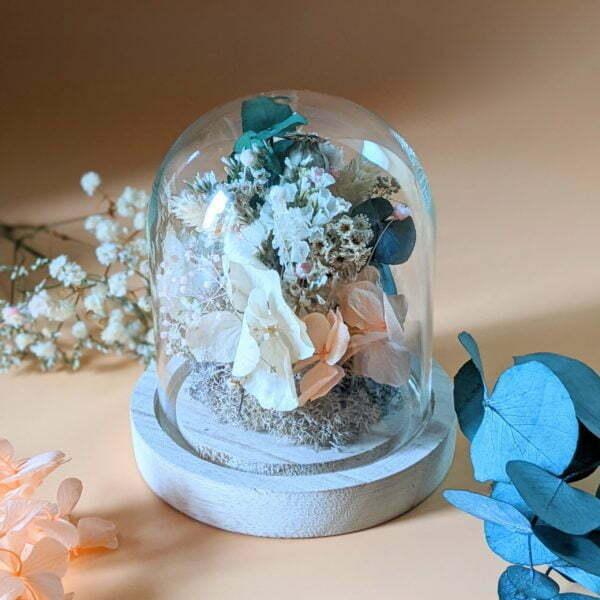 Cloche en verre avec fleurs séchées & fleurs éternelles pour décoration d'intérieur bohème, Lupita 3