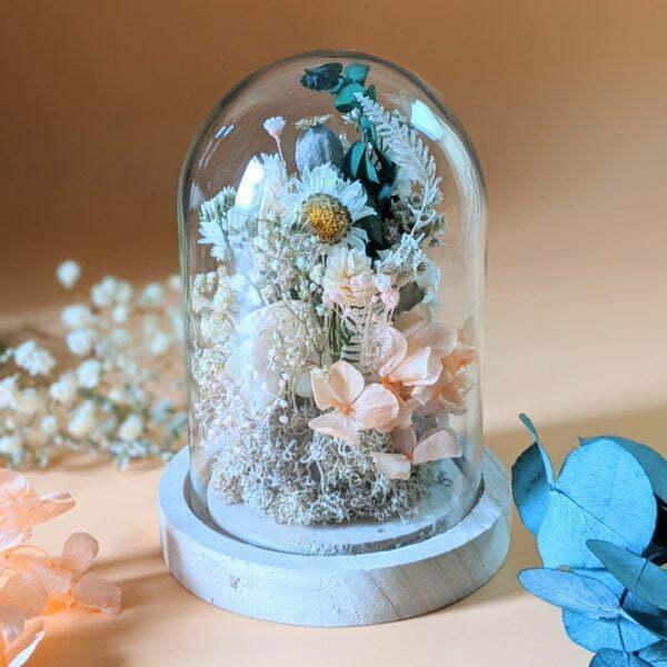 Cloche en verre avec fleurs séchées & fleurs éternelles pour décoration d'intérieur bohème, Lupita 2