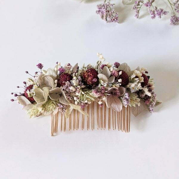 Peigne à cheveux fleuri pour coiffure de mariage en fleurs séchées & fleurs stabilisées, Safari 3
