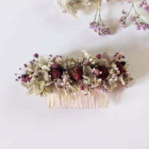 Peigne à cheveux fleuri pour coiffure de mariage en fleurs séchées & fleurs stabilisées, Safari