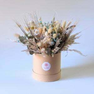 Boîte à chapeau fleurie personnalisable dans les tons jaunes, bleus, beiges, Mira