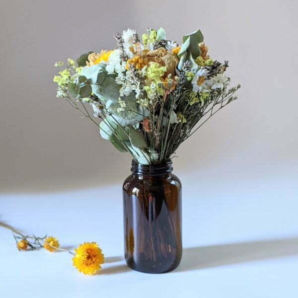 Bouquet de fleurs séchées avec soliflore en verre teinté recyclé, pour décoration d'intérieur, Agrume 2