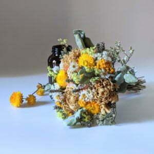 Bouquet de fleurs séchées avec soliflore en verre teinté recyclé, pour décoration d'intérieur, Agrume